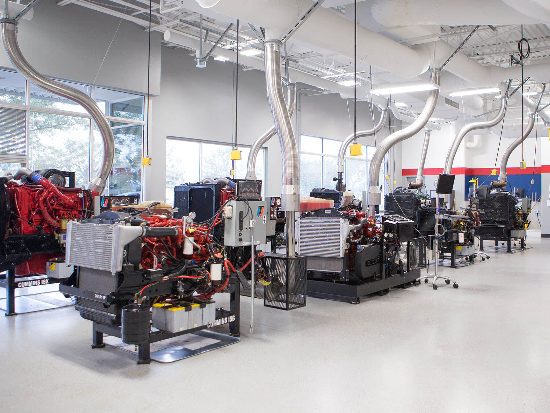 Wide angle photo of Diesel engines in the diesel lab