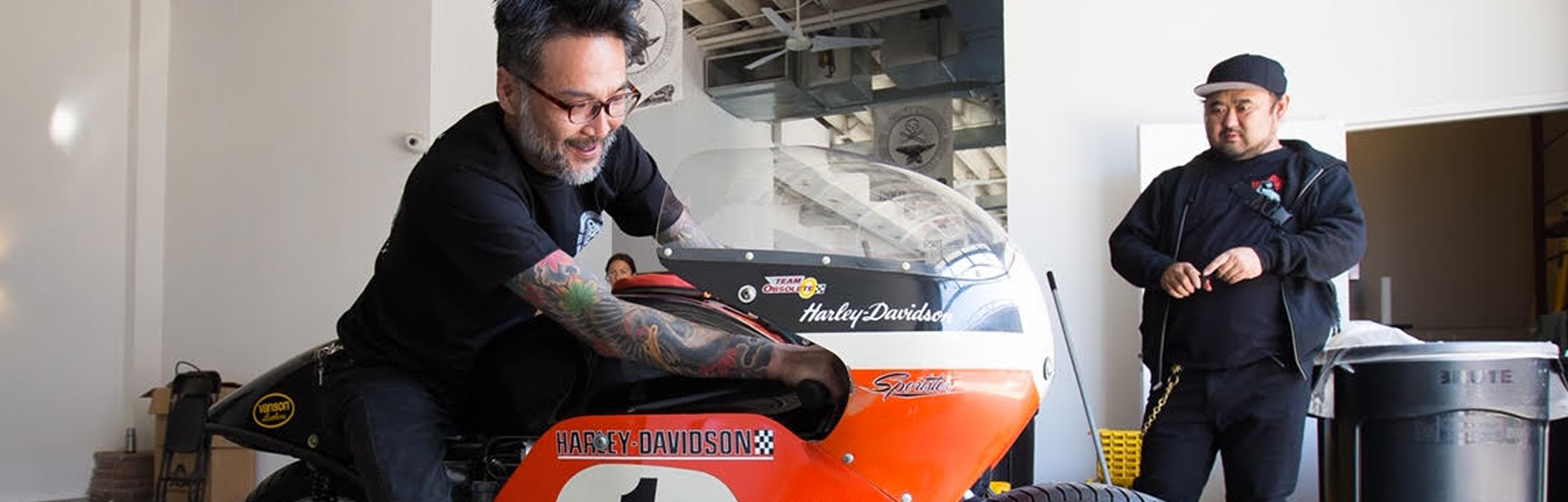 Image of Keinosuke Keino Sasaki who is a graduate of Motorcycle Mechanics Institute Phoenix MMI and an entrepreneur while he is sitting on a motorcycle
