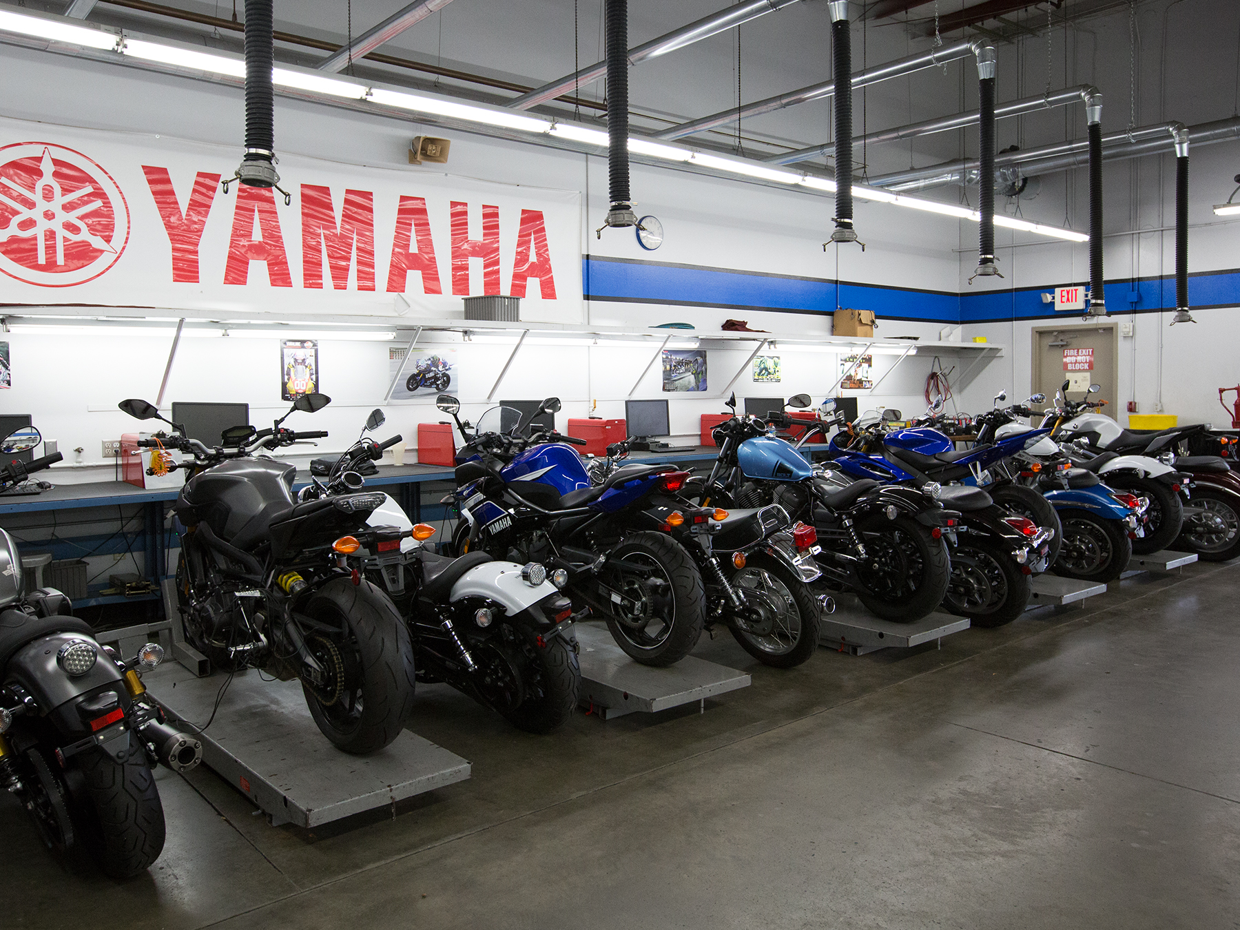 Wide angle photo of motorcycle in the Yamaha lab